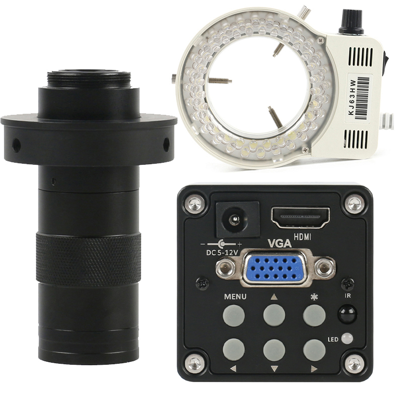 Industrial Digital 14MP 1080P HDMI VGA Video Microscope Camera   130X Adjustable Zoom C mount Lens   56 LED Ring Light