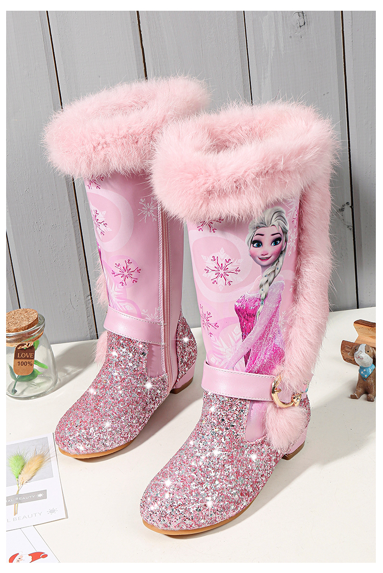 H13a4f5f334d849489ae8eb3a1f4115acg - Elsa princess kids high boots new winter girls boots Brand Children's over the knee boots for girls snow shoes pink blue