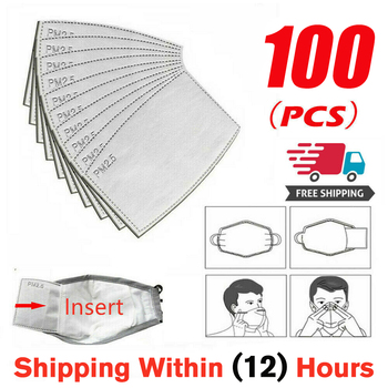 100Pcs/Lot 5 Layers PM2.5 Activated Carbon Filter Insert Protective Filter Media Insert for mouth Mask anti dust mask