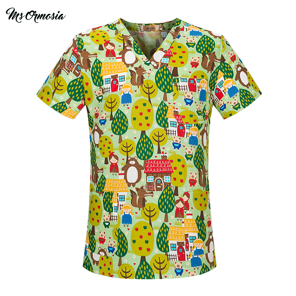 High Quality Hospital Nurse Scrub Tops Breathable Forest Printing Clothes Surgical Medical Uniforms For Women And Men Wholesale