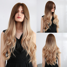 Element Synthetic Long Wavy Wigs Dark Root Ombre Brown Cosplay Party Wigs with Side Bangs for Black White Women Fake Hair