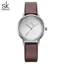 Shengke mão criativa moda feminina relógios de couro preto senhoras relógio de pulso relógio de quartzo reloj mujer 2019 sk montre femme
