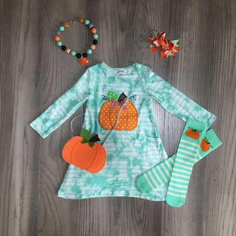bebe meninas outono inverno tie dye vestido roupas meninas halloween abobora fantasma feiticeiro vestido com