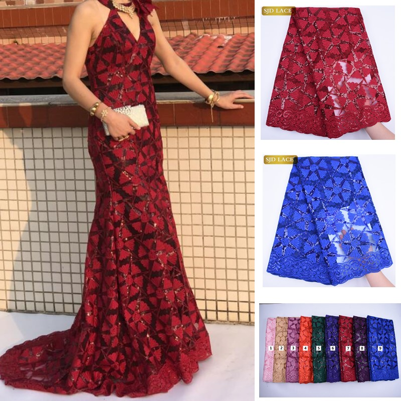 2020 Red Milk Silk Lace African Nigerian Lace Fabric With Sequins High Quality French Mesh Lace Fabric For Wedding Sewing A1733(China)