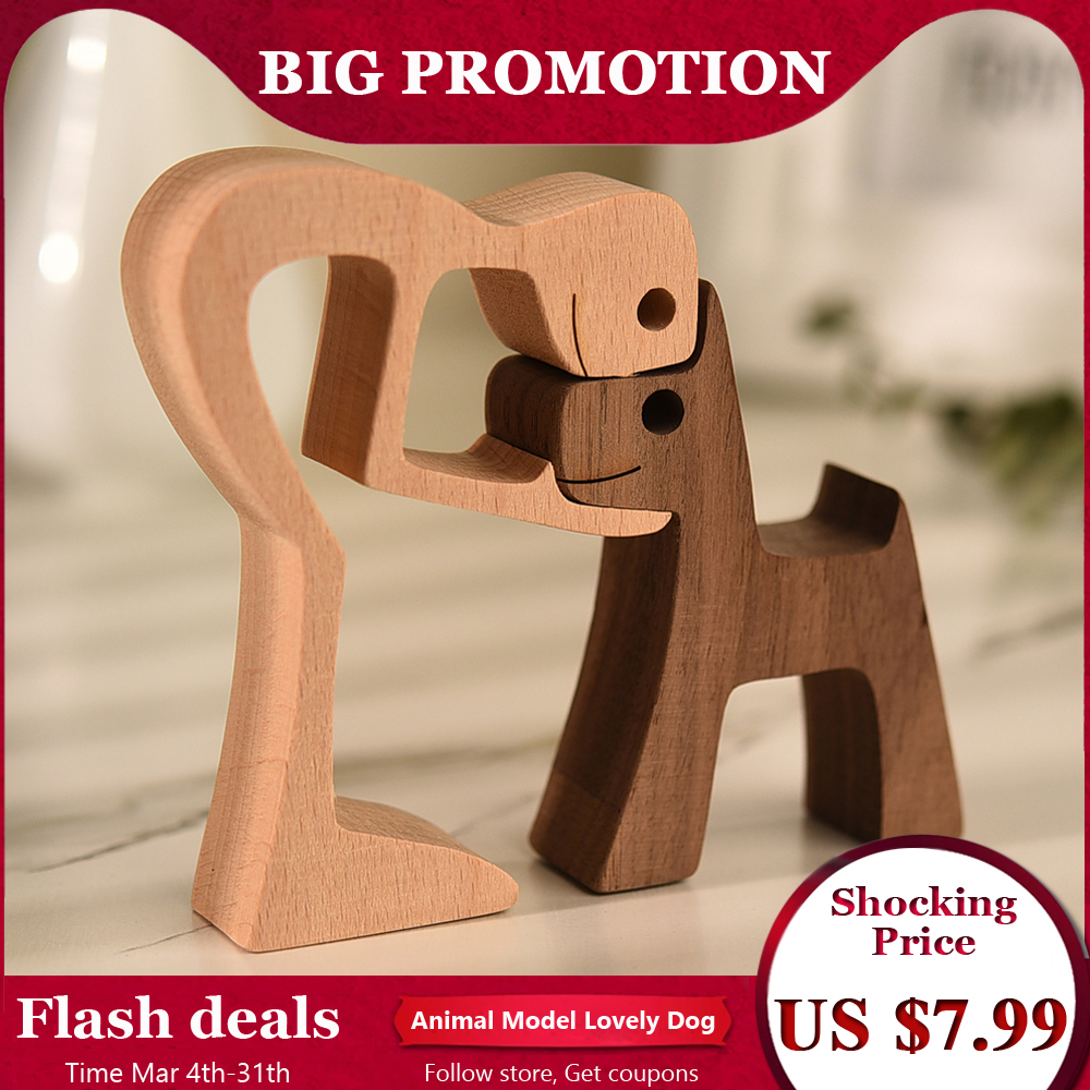 Puppy Family Wood Dog Carving Ornaments Decoration Home Decor Figurine Desktop Table Ornament Sculptures For Dog Pet Lover Gifts
