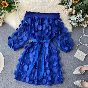 Image 4 - Vestito Delle Donne di Modo Del Fiore Tridimensionale Bolla Del Manicotto Dei Tre Quarti Chiusura Vita Slash Collo Elegante di Colore Solido del Vestito Abiti