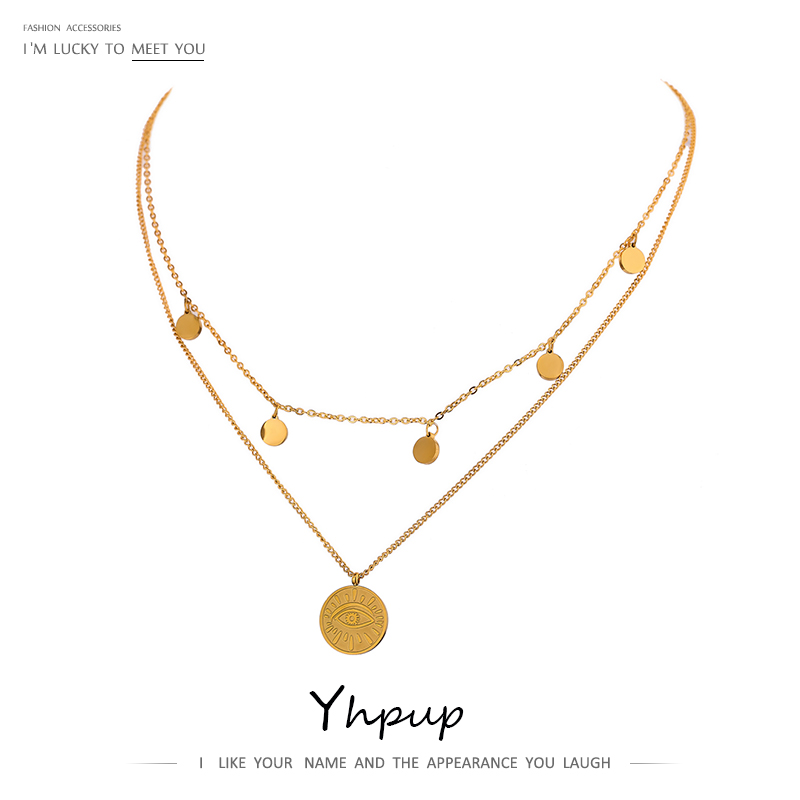 Yhpup Fashion Coin Eye Pendant Layered Stainless Steel Necklace for Women Statement Chain Choker 18 K Necklace Jewelry 2021