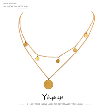 Yhpup Fashion Coin Eye Pendant Layered Stainless Steel Necklace for Women Statement Chain Choker 18 K Necklace Jewelry 2020