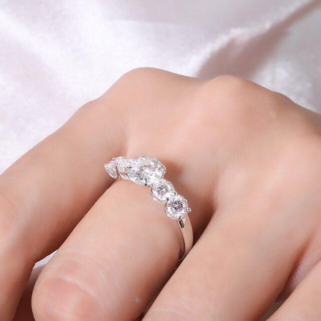 2.2 quilates 6.5mm d cor vvs1 redondo excelente corte moissanite casamento anel de noivado sólido 18 k ouro branco anel fino para senhora 5