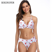 New Sexy Cherry Print Bikini Women Swimsuit Overlap Strap Bathing Suit S-XL Girl Backless Halter Two Piece Swimwear Bikini Set lunamy 2018 new floral print two piece swimsuit women swimsuit female sexy backless bikini set beach bathing suit with pants