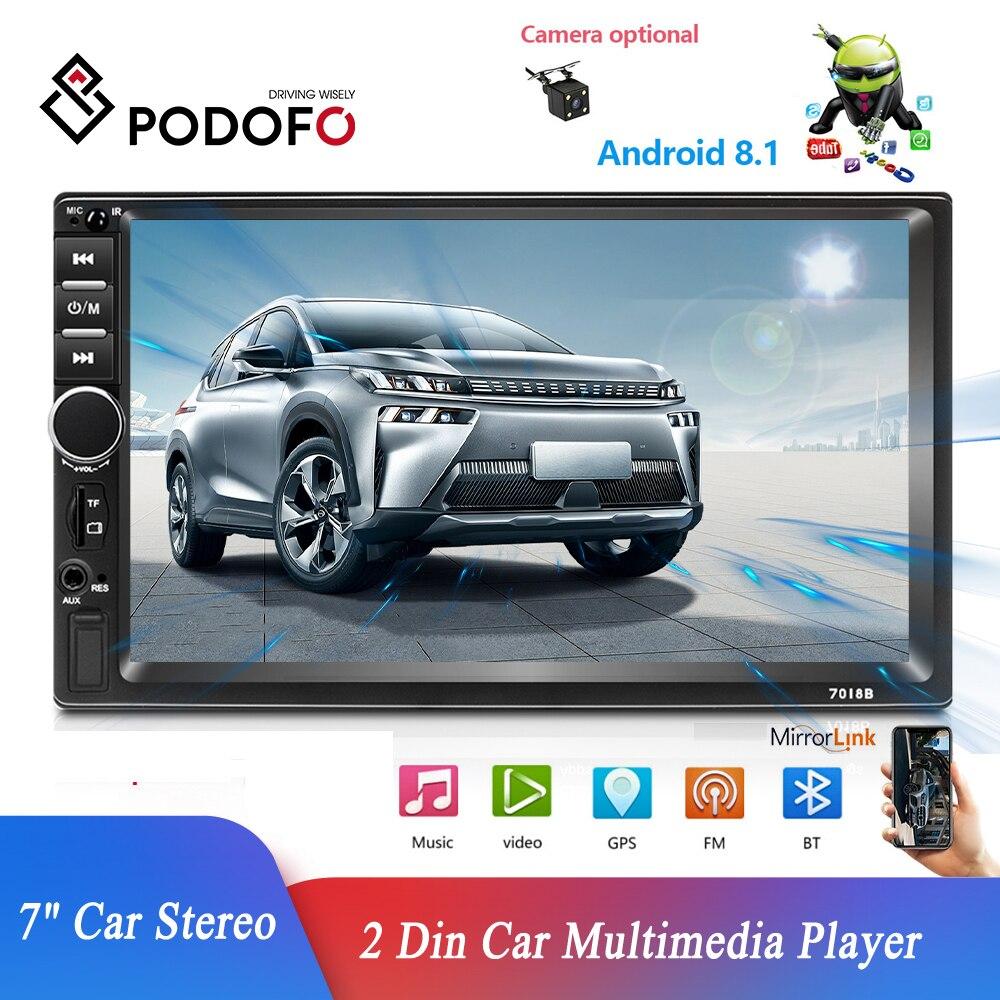 Podofo 2 din Radio de coche Android 8,1 reproductor Multimedia de coche 7