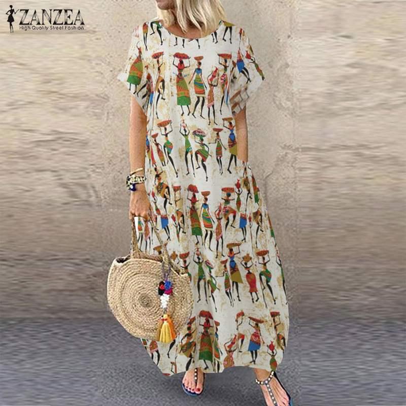 Женское винтажное длинное платье с принтом ZANZEA, повседневное свободное праздничное платье с коротким рукавом, большие размеры, мешковатые платья|Платья|   | АлиЭкспресс