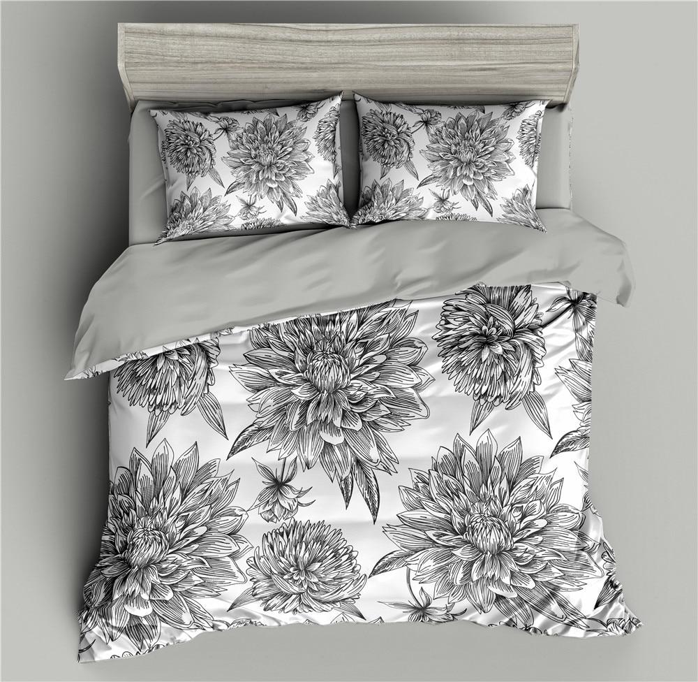 Flowers Pattern 3d Bedding Set Black Duvet Cover Bedding Queen