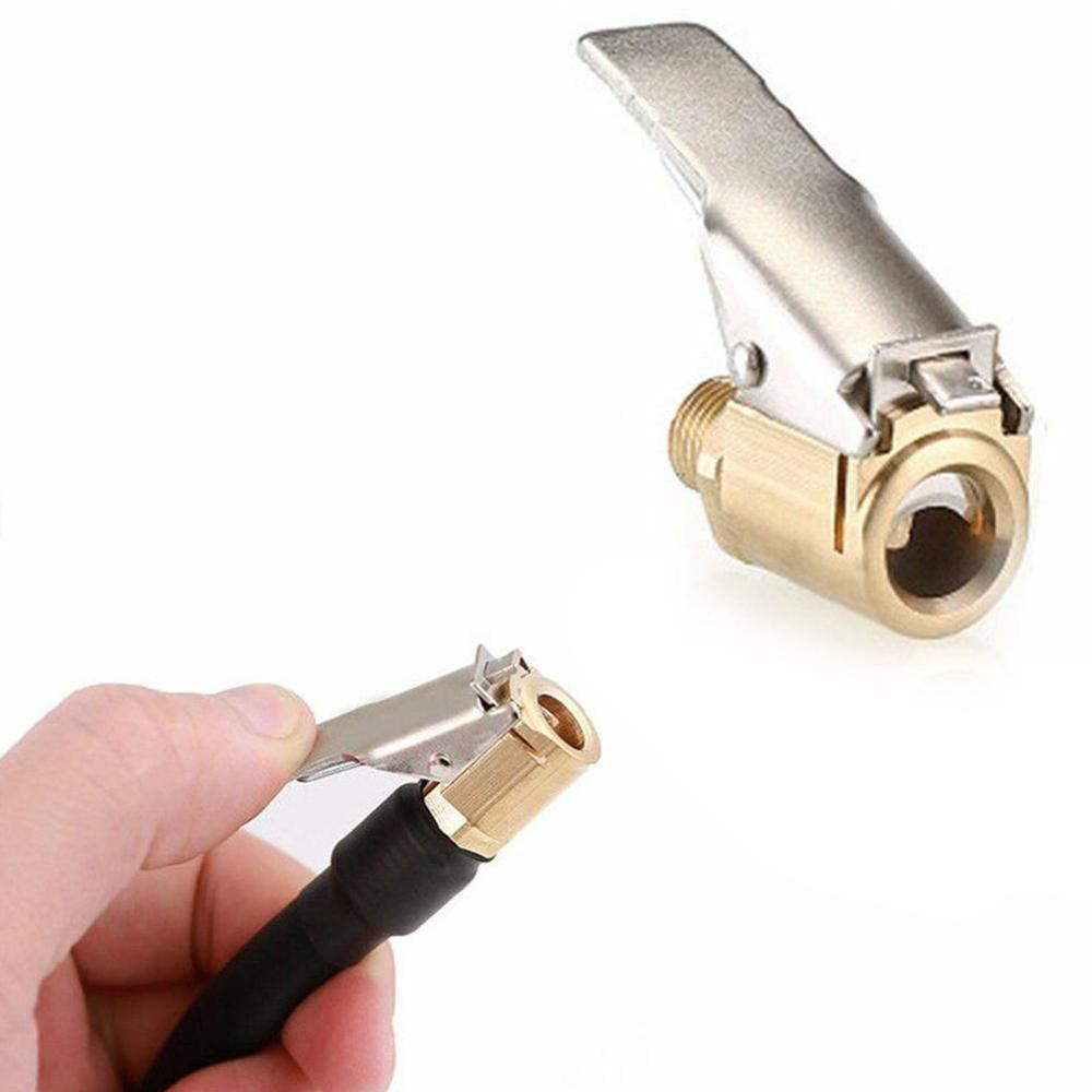 General 8mm Bore Hose Car Truck Tyre Tire Inflator Valve Air Pump Clip Nozzle Metal Adapter Connector Car Inflatable Connector