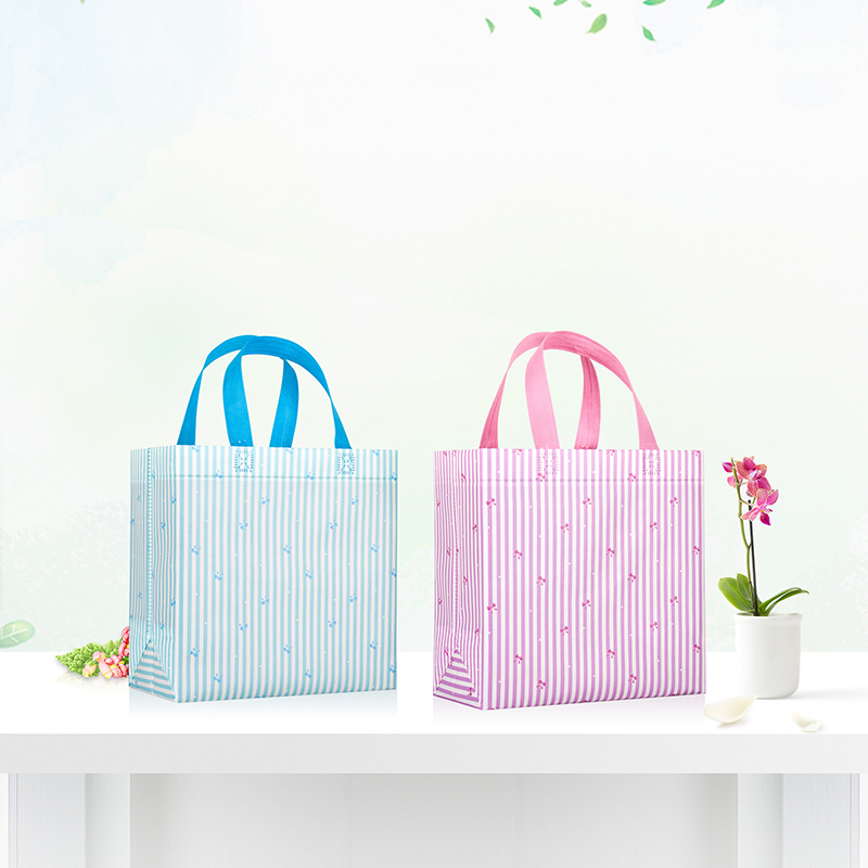 Reusable Shopping Bag Large Folding Tote Grocery Bag Striped Polka Dot Non-woven Fabric Convenient Storage Shopping Bag Handbag