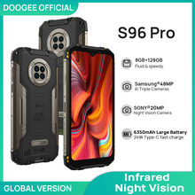 Doogee s96 pro impermeável áspero telefone 48mp redondo quad câmera 20mp visão noturna infravermelha helio g90 octa core 8gb + 128gb 6350mah