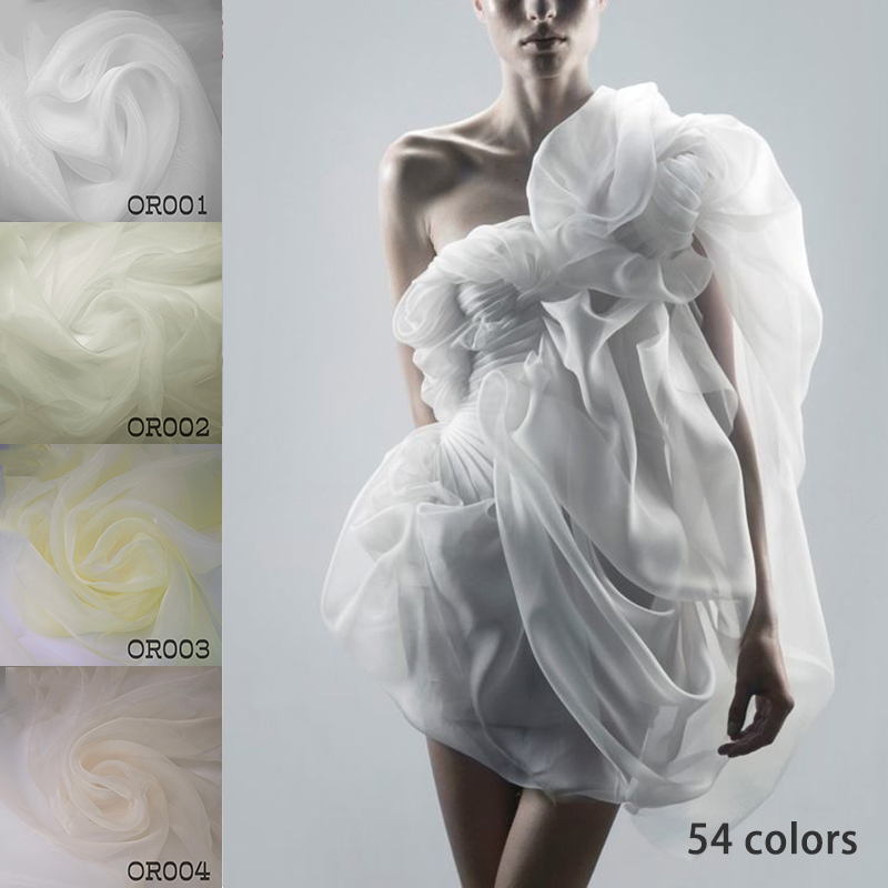 High grade white encryption transparent organza fabric diy dress skirt clothing material designer fabric OR001 OR016 in Fabric from Home Garden