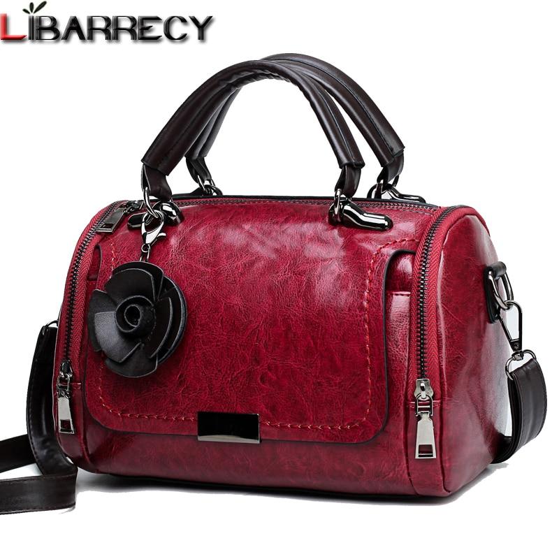 Vintage Oil Wax Leather Handbag Luxury Brand Women Bag Flower Tassel Shoulder Bag Female Designer Crossbody Bags for Women 2019 in Top Handle Bags from Luggage Bags