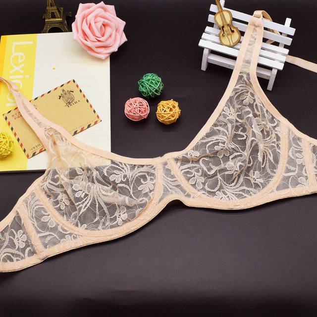 Womens Lace Bras Plus Size Bralette Underwired Invisible Underwear See Through Sexy Lingerie Brassiere Tops
