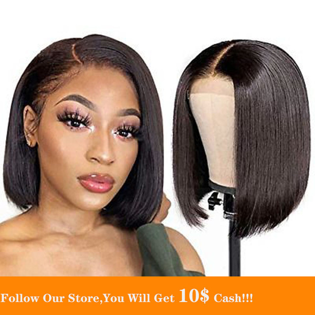 $ US $101.50 Natural Black Lace Front Wig Indian Transparent Remy Human Hair Closure Wig Silk Top Glueless For Women Short Bob With Baby Hair