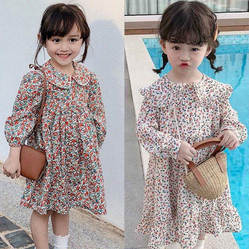 Fashion Hot Sale Girls Floral Dress NEW Baby Girls Dress Party College Style Lapel Princess Dress Fashion Kids Children Clothing