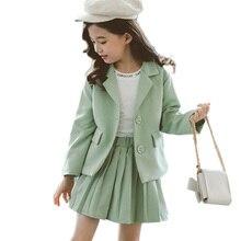 בנות בגדי קפלים חצאית & מעיל בנות בגדי מוצק הלבשה עליונה חליפת עבור בנות בית הספר אחיד אופנה ילד חורף בגדים