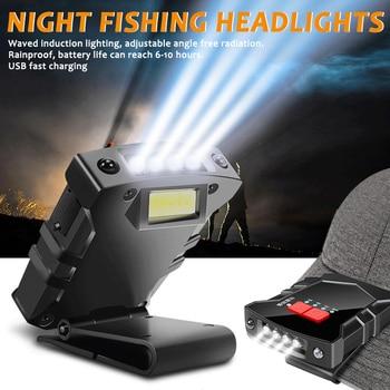 Super bright usb rechargeable cob led cap light smart sensor headlight head flashlight clip on cap