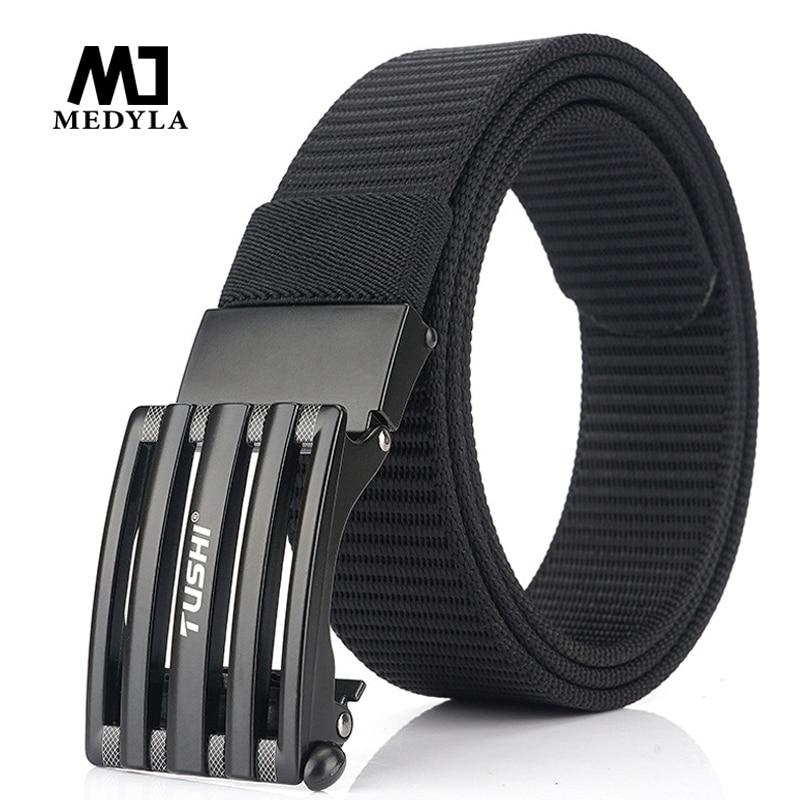 Official Product Men's Belt Alloy Automatic Buckle Durable Casual Nylon Jeans Belt Canvas Business Male Trousers Belt