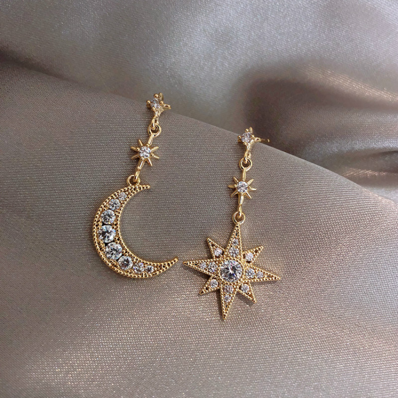 2019 nouvelle arrivée cristal à la mode étoile femmes balancent boucles doreilles étoile-lune asymétrique boucles doreilles goutte boucles doreilles bijoux boucles doreilles