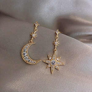 2019 New Arrival Crystal Trendy Star Women Dangle Earrings Star-moon Asymmetric Earrings Drop Earrings Jewelry Earrings