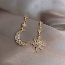 2019 New Arrival kryształowe modne gwiazdy kobiety Dangle kolczyki Star-moon asymetryczne kolczyki spadek kolczyki biżuteria kolczyki tanie tanio NoEnName_Null Ze stopu cynku TRENDY
