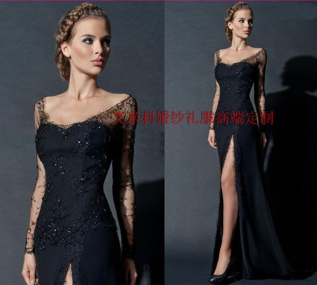 Long Sleeve Fashion Prom Beading Formal Gowns Vestido De Festa New Hot Sexy Cap Sleeve Black Lace Mother Of The Bride Dresses