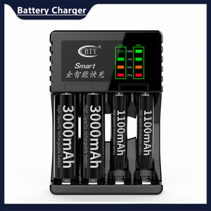 1pc Black/white Multi Slot Intelligent Fast Charger With LED Indicator IC Control DC 5V 1A Input Rechargeable Battery Charger