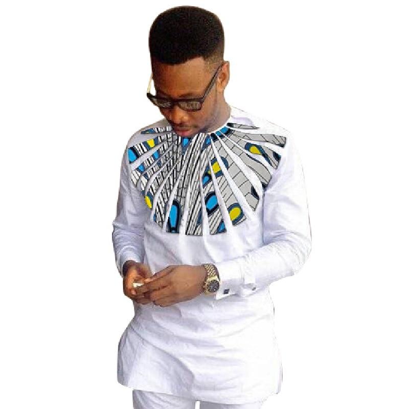 Купить африканская мода мужские рубашки с длинным рукавом дашики белый/восковый