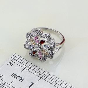Image 5 - Flower Multicolor Zircon 925 Silver Jewelry Sets For Women Wedding Earrings/Pendant/Ring/Bracelet/Necklace Set