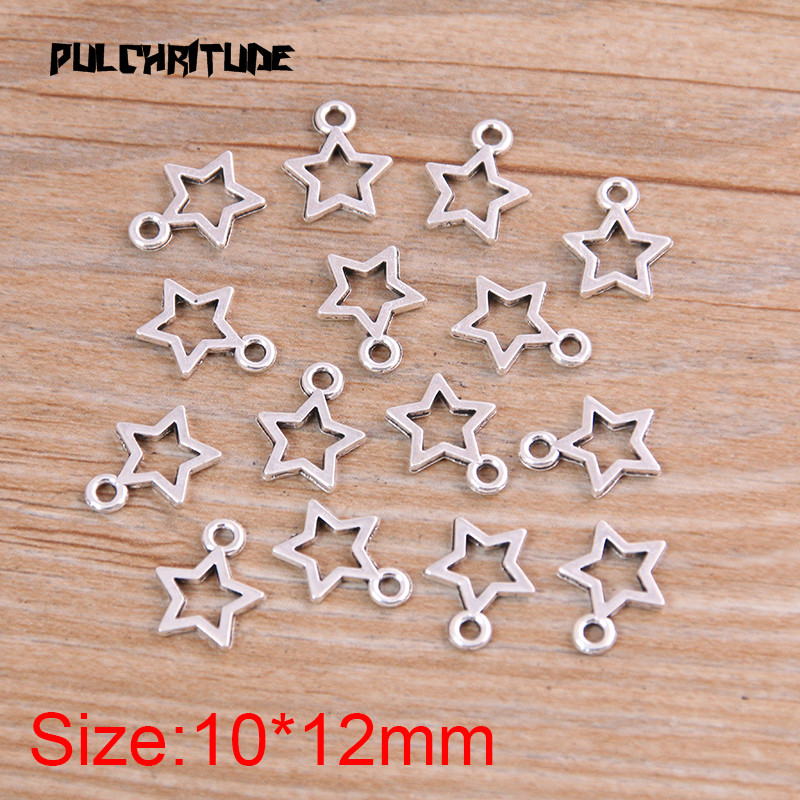 60PCS 10*12mm New Product Two Color Mini Hollow Five-pointed Charms Pendant Jewelry Metal Alloy Jewelry Marking 2