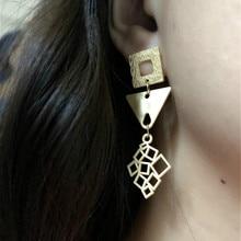 купить Statement Simple Matt Gold Color Geometric Triangle Hollow Pendant Drop Earrings for Women Girls Fashion Jewelry дешево