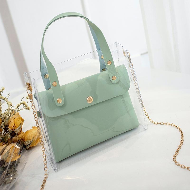 Women Fashion Composite Bags Transparent Bag Shoulder Crossbody Bags Women Leather Handbags Messenger Tote Bag Sac Main Femme