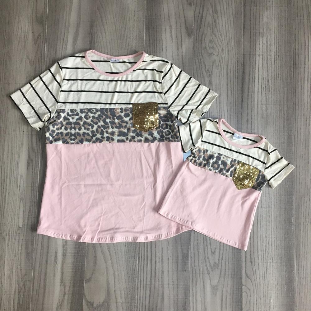 Mom Daughter Shirt Girls 3 Parts Leopard Print Gold Sequins Top Mum And Daughter Summer Pink TEE