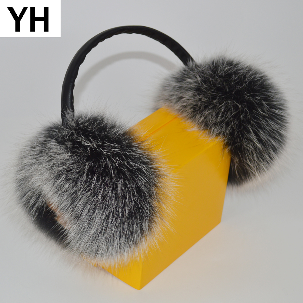 2019 New Style Winter Women Warm Fluffy Real Fox Fur Earmuffs Adjustable Size Girl Lovely Outdoor Real Natural Fox Fur Ear-cap