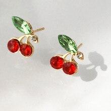 Cherry Earrings Couple Fruit Women Student Pendant Ear-Jewelry Gifts Fresh Female Cute