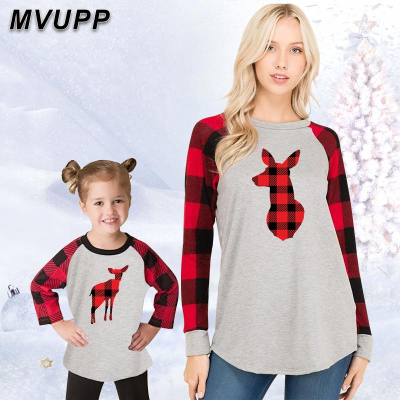 Christmas Deer Family Matching Outfits Long Sleeve Cotton T Shirt Plaid Normal Size Mommy And Me Kids Set Baby Winter Clothes