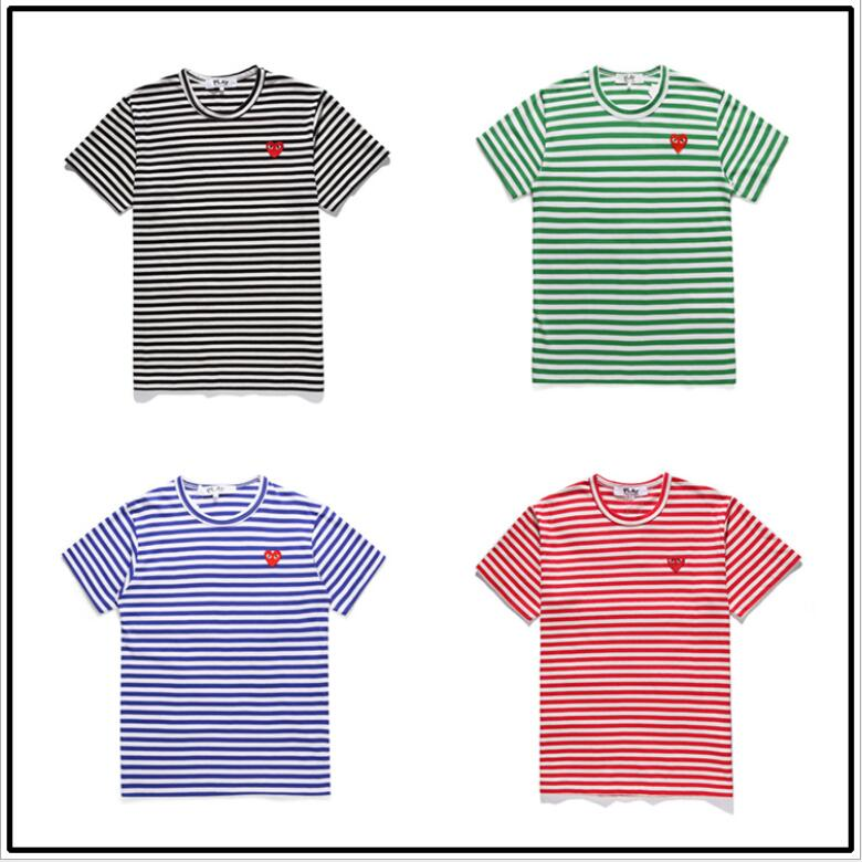 2020 Spring Summer Peach Heart Embroidery Men's and Women's Love Round Neck Cotton Color Stripe Short Sleeve Couple H2