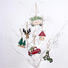 3PCS New High-quality Christmas Wooden Hanging Pendant Creative Car Elk Tree For Decoration