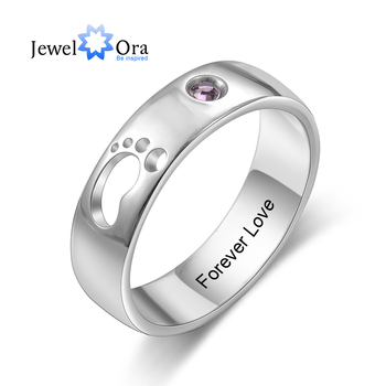 JewelOra Personalized Name Hollow Cute Baby Feet Ring with Birthstone Custom Inside Engraved Rings for Women Mother's Day Gifts