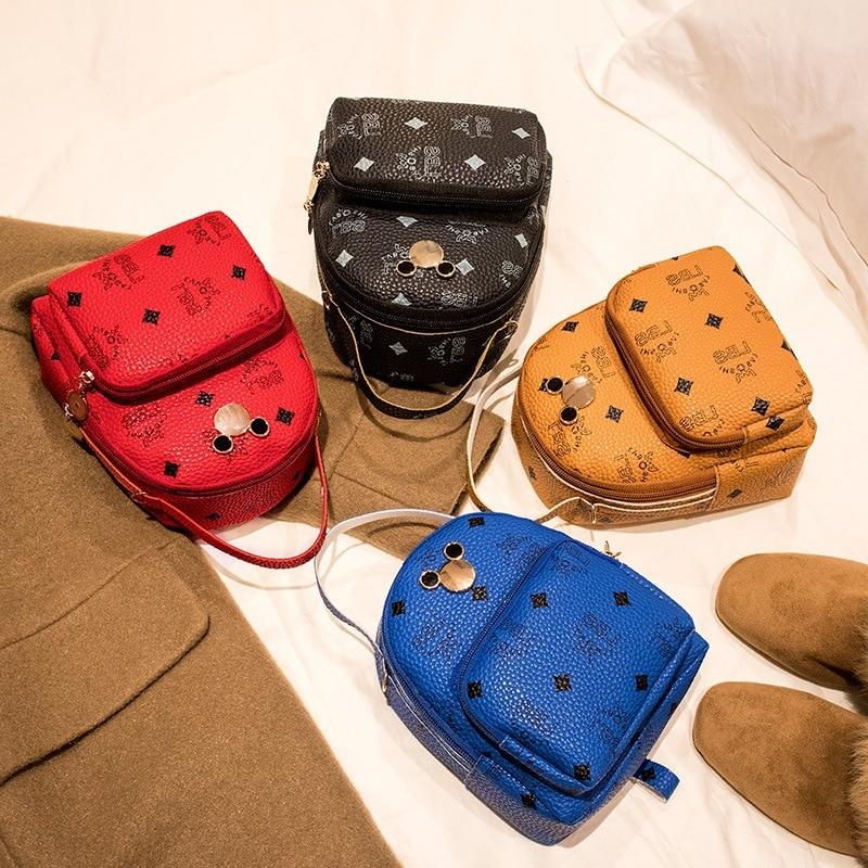 Mini Backpack Women PU Leather Shoulder Bag For Teenage Girls Multi-Function Bag Pack Female Ladies School Backpack Mochila