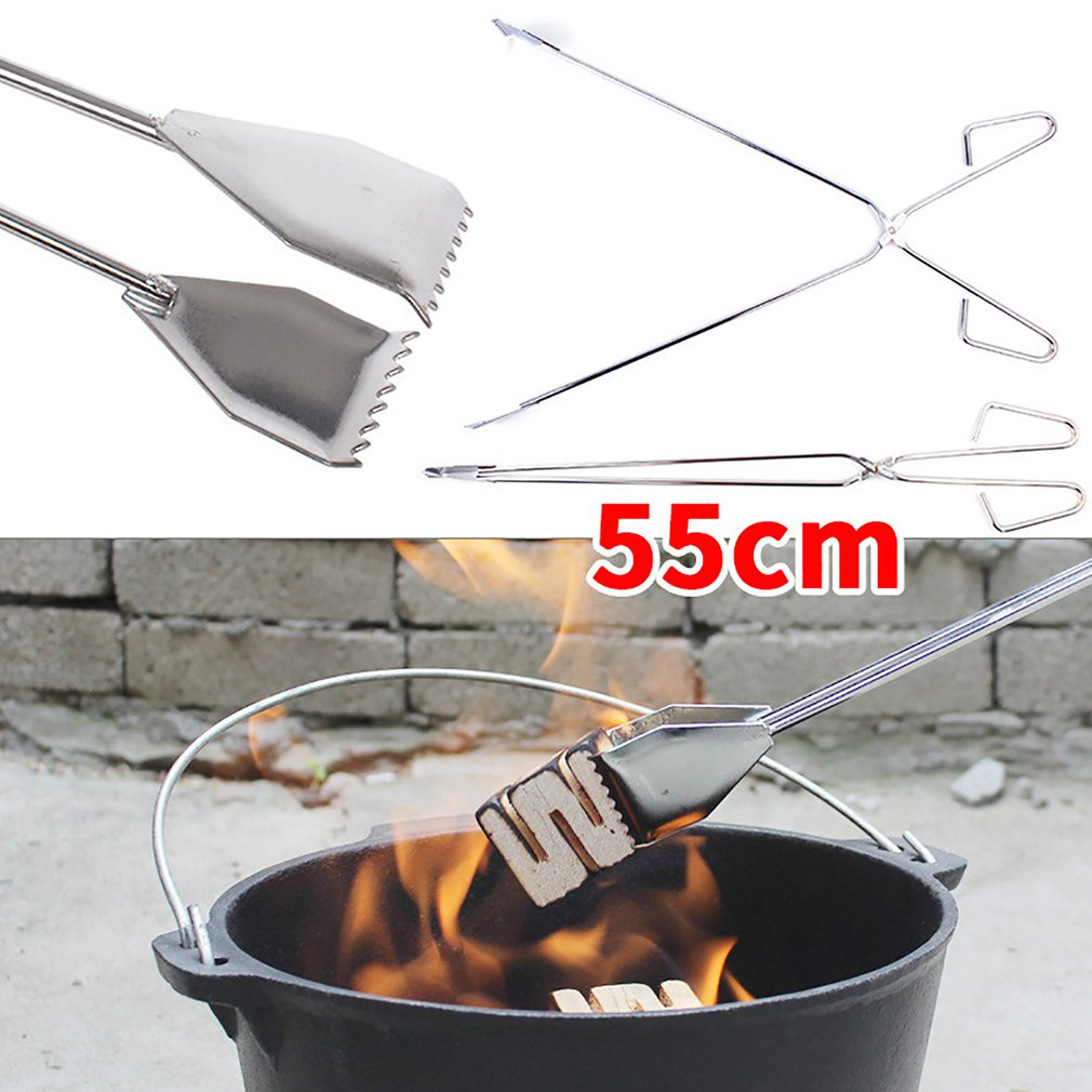 55cm Convenient BBQ Tools Stainless Steel Scissors Type Grilled Food Clip Barbecue Accessories Portable Tongs Outdoor Gadget