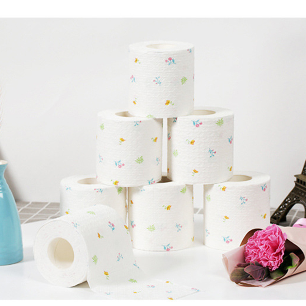 9 Roll 6 Ply Home Bath Paper Bath Printed WC Bath Soft Toilet Paper Tissue Bathroom Supplies Gift 100g/Roll
