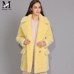 Image 4 - Maomaomaofur lã real casaco de pelúcia feminino nova moda casaco de pele de ovelha real feminino quente oversize inverno outerwear lã roupas