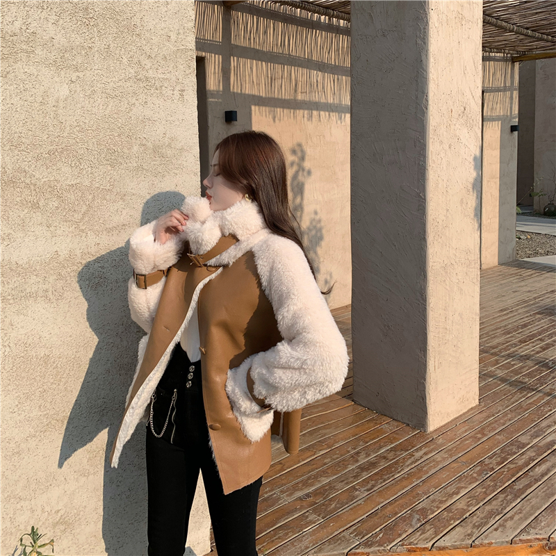 H13a73c89b2d24eb4acce8c90a81ee2f4u Winter Women High Quality Fur Coat Loose Collar Design Integrated Long Splicing Single-breasted Cotton-padded Pocket Jackets
